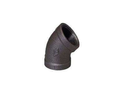 Malleable Iron 120 Elbows, 45 Degree – Black