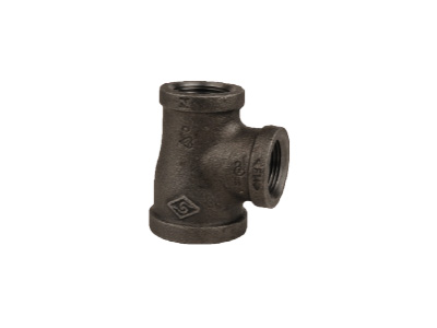 Malleable Iron 130R Reducing Tees – Black